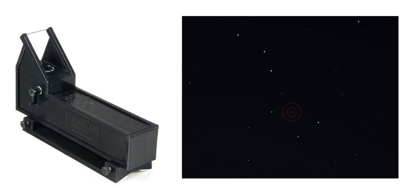 Telrad Finder and reticle of a Telrad finder superimposed on big dipper